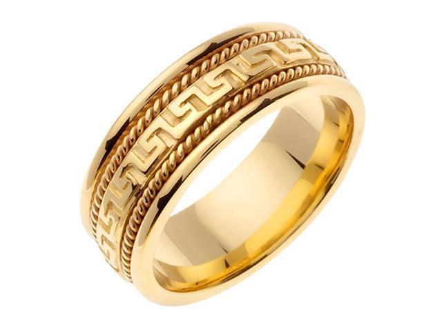 14K Yellow Gold Comfort Fit Greek Key Contemporary Men'S Wedding Band