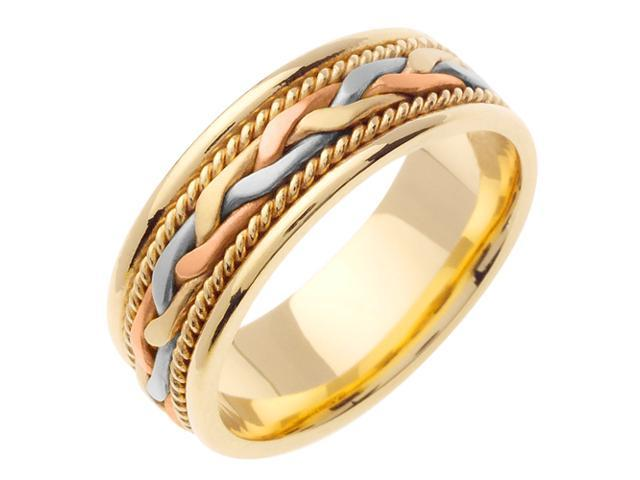 14K Tri Color Gold Comfort Fit French Braid Braided Men'S Wedding Band