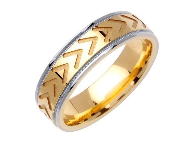 One Way Designer Men'S 6 Mm 14K Two Tone Gold Comfort Fit Wedding Band