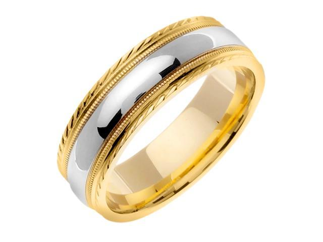 14K Two Tone Gold Comfort Fit Dome Surface Contemporary Men'S 7 Mm Wedding Band