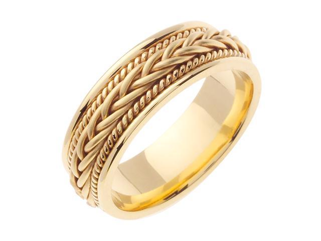 14K Yellow Gold Comfort Fit French Braid Braided Men'S Wedding Band