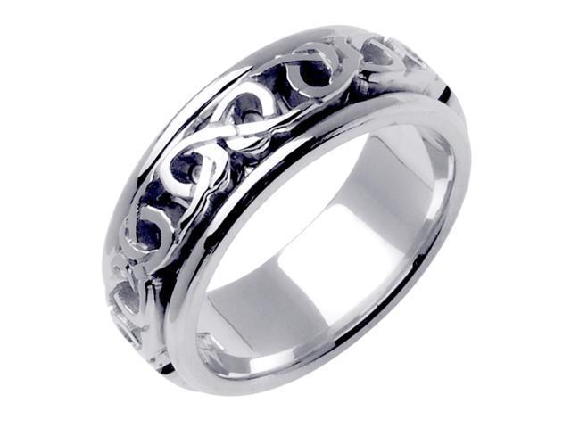 14K White Gold Comfort Fit Infinity Love Knot Celtic Men'S 8 Mm Wedding Band