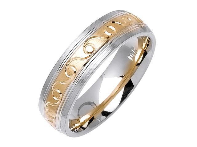 Infinity Sprial Designer Men'S 6 Mm 14K Two Tone Gold Comfort Fit Wedding Band