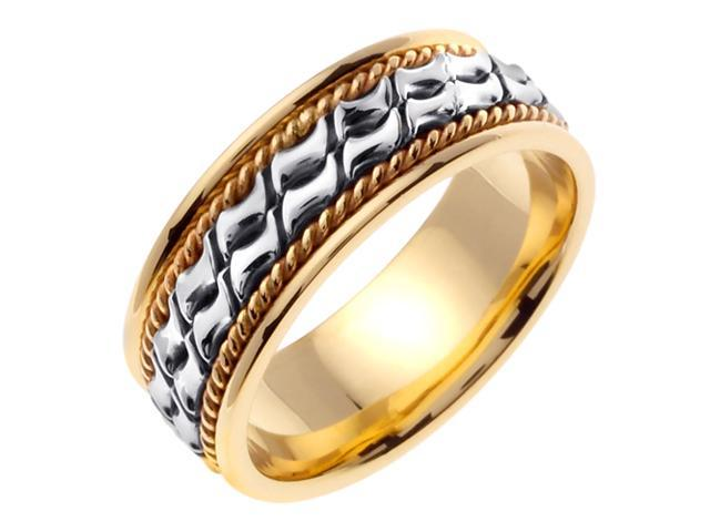 14K Two Tone Gold Comfort Fit Small Blocks Braided Men'S Wedding Band