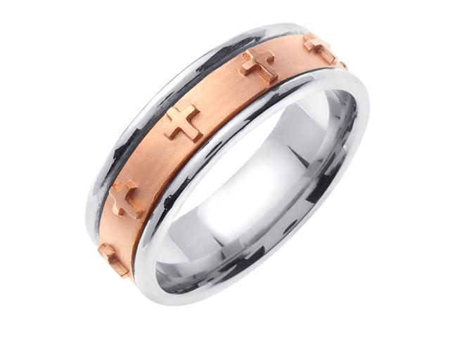 14K Two Tone Gold Comfort Fit Flat Surface Christian Men'S Wedding Band
