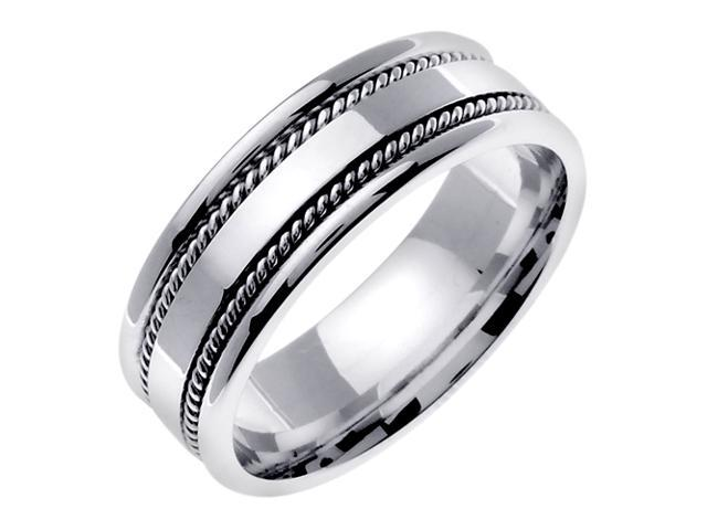 14K White Gold Comfort Fit Flat Surface Contemporary Men'S 7 Mm Wedding Band