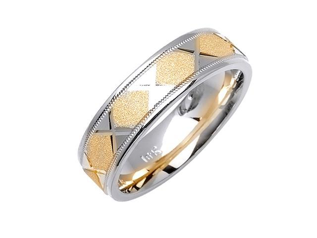 Diamond Pattern Designer Men'S 6 Mm 14K Two Tone Gold Comfort Fit Wedding Band