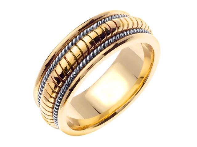 14K Two Tone Gold Comfort Fit Coil Like Braided Men'S Wedding Band