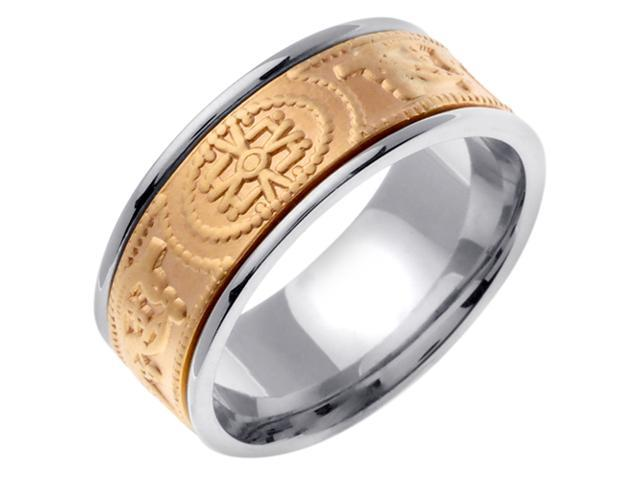 14K Two Tone Gold Comfort Fit The One Celtic Men'S 9 Mm Wedding Band