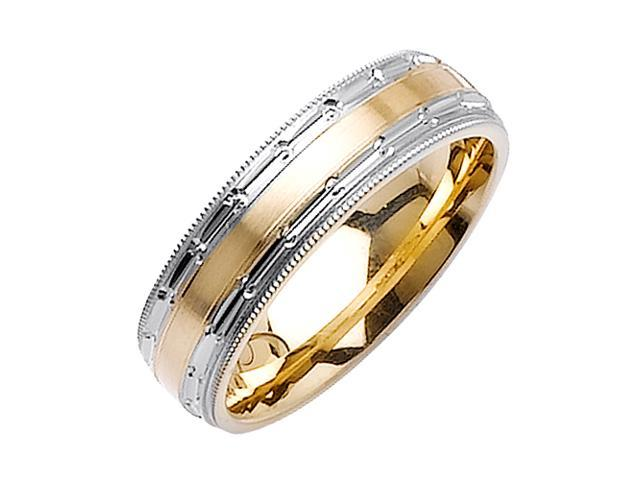 Flat Surface Designer Men'S 6 Mm 14K Two Tone Gold Comfort Fit Wedding Band