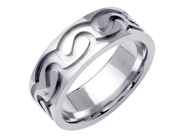 14K White Gold Comfort Fit Double Spiral Celtic Men'S 7.5 Mm Wedding Band
