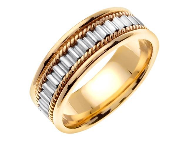 14K Two Tone Gold Comfort Fit Multi Cylinders Braided Men'S 7 Mm Wedding Band