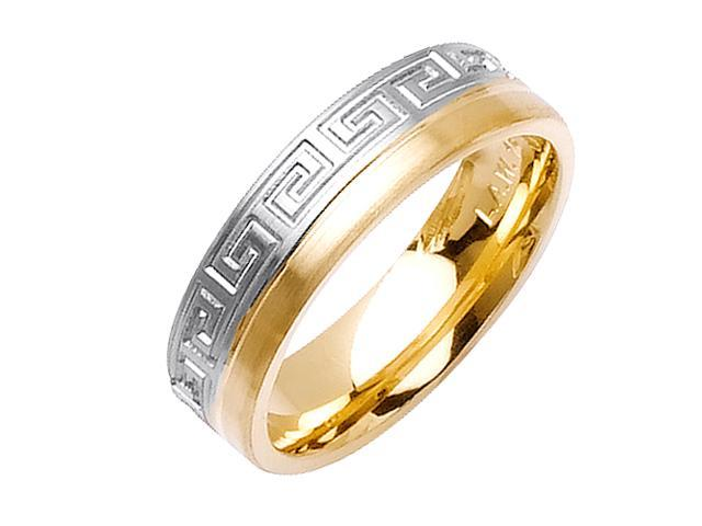Greek Key Designer Men'S 6 Mm 14K Two Tone Gold Comfort Fit Wedding Band