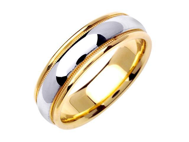 Half Dome Designer Men'S 6.5 Mm 14K Two Tone Gold Comfort Fit Wedding Band