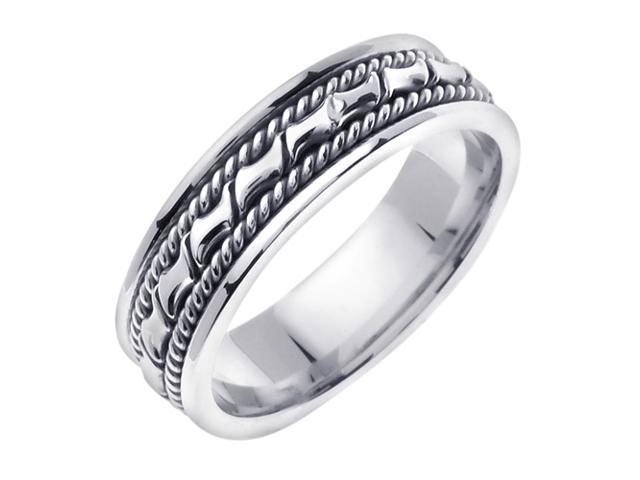 14K White Gold Comfort Fit Small Blocks Contemporary Men'S Wedding Band