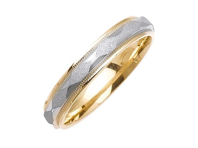 Diamond Pattern Designer Men'S 4 Mm 14K Two Tone Gold Comfort Fit Wedding Band
