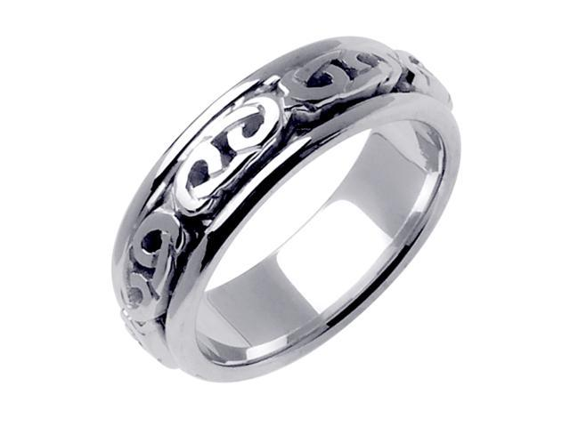 14K White Gold Comfort Fit Infinity Love Knot Celtic Men'S 7 Mm Wedding Band