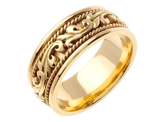 14K Yellow Gold Comfort Fit Paisley Swirl Carved Men'S Wedding Band