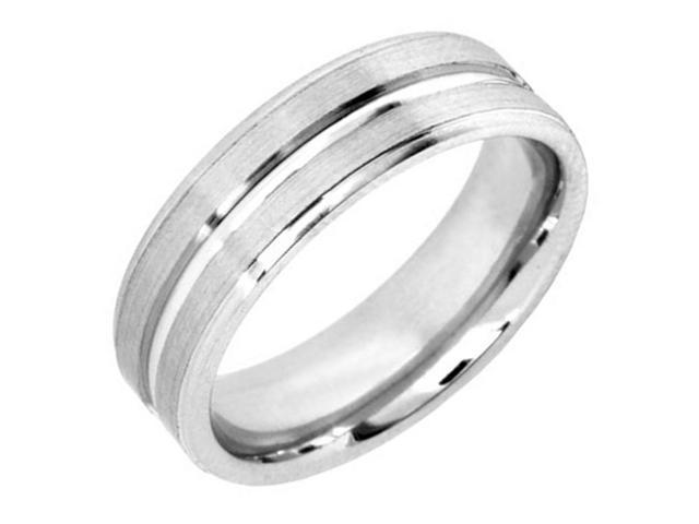18K White Gold Womens  Center Groove Canal Wedding Band (7mm)