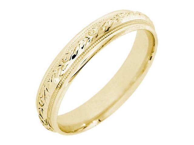 14K  Gold Womens Floral Vine Wedding Band (4.8mm)