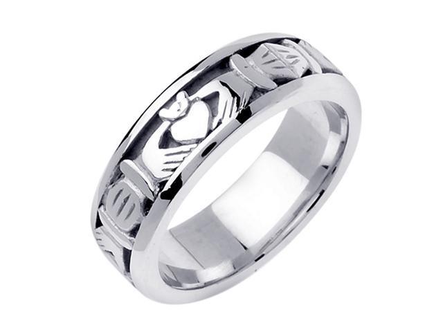 Platinum Mens Celtic Claddagh Wedding Band 7mm