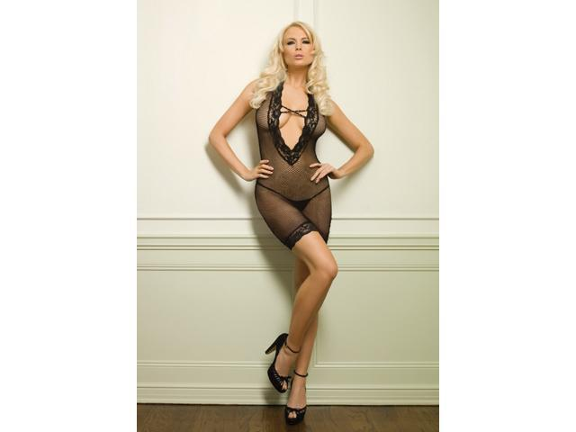 Leg Avenue Lace Trimmed Deep V Fishnet Dress 86098 Black One Size Fits All
