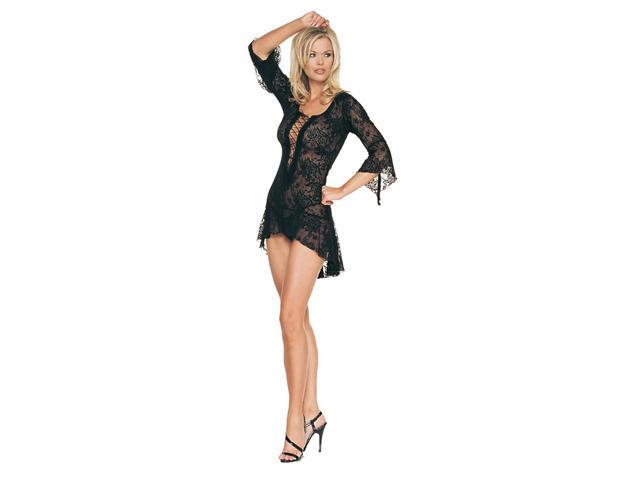 2Pc Lace Flair Sleeves Dress With G-String
