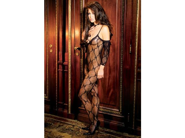 Elegant Moments Titillating Bow Tie Lace Body Stocking 1604X Black One Size Fits