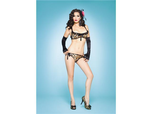 2Pc Frisky Kitty Set, Bra Top With Tasseland Panty With Sequi