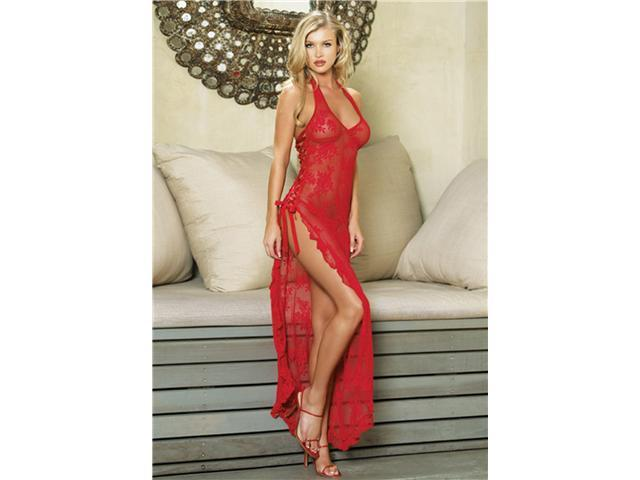 2Pc Halter Lace Long Gown With Ribbon Lace Up Side Slip And G