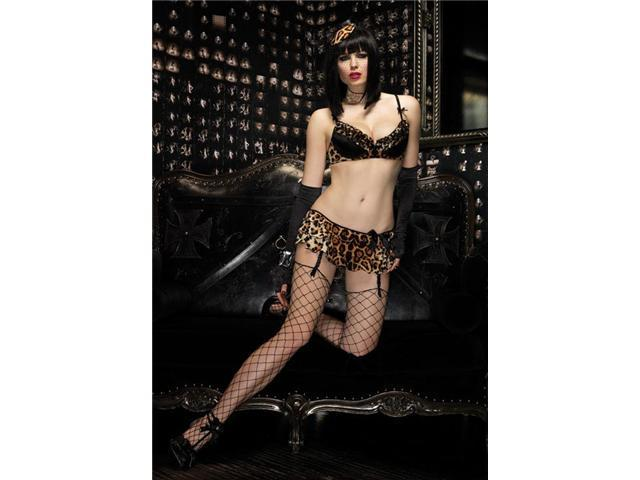 2Pc.Sinful Set,Underwire Padded Bra And Matching Garter Skirt