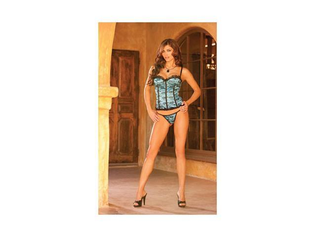 Women's Satin Bustier With Lace Overlay, Boning, Underwire Cups