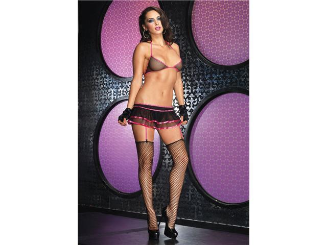 2Pc.Fishnet Bikini Top And Layered Garter Skirt