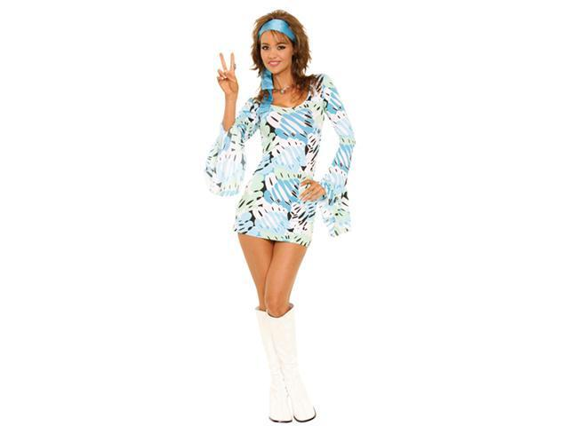 Women'S Peace Love And Rock N Roll Retro Print Costume