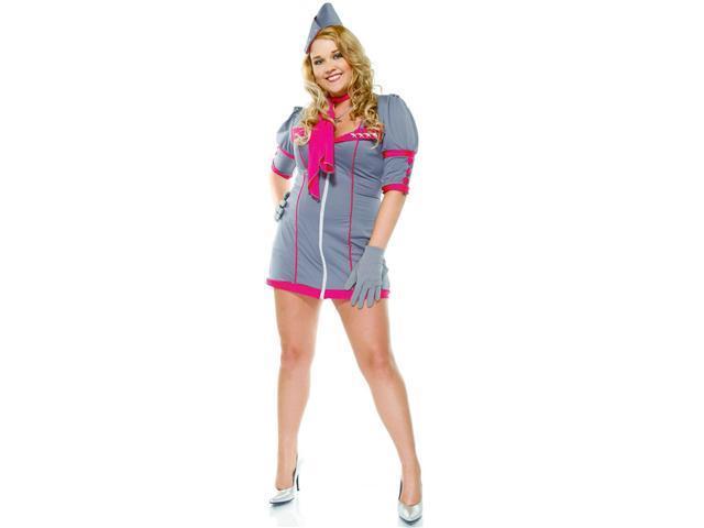 4Pc Swanky Stewardess Sexy Plus Size Holiday Costumes