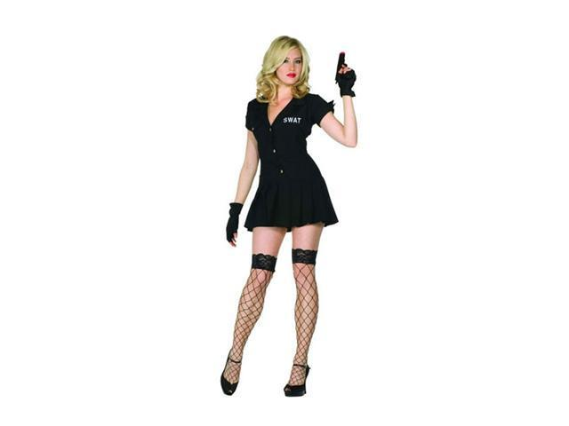 S.W.A.T. Black Pleated Dress With Print On Back, Gloves
