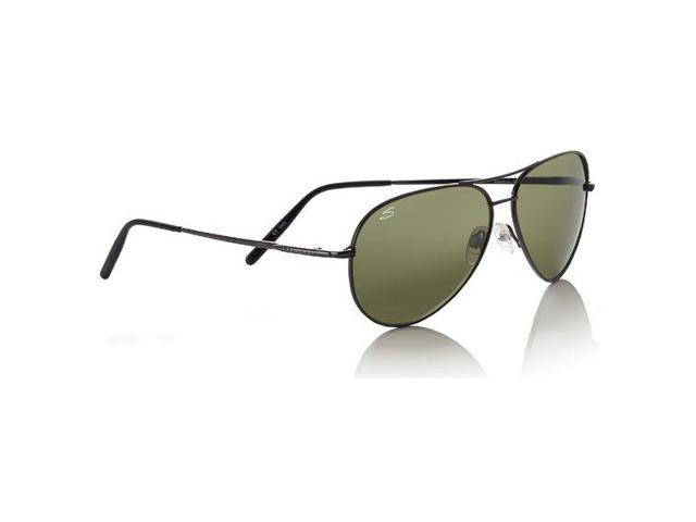 Serengeti Aviator Sunglasses, Medium - Shiny Gun Frame, 555nm Polarized Lens 719