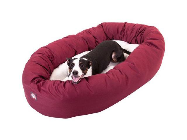 "Majestic Pet Large 40"" Donut Dog Bed (40""x31""x12""), Burgundy / Sherpa - OEM"