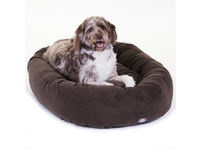 "Majestic Pet Extra Large 52"" Micro Suede Dog Bagel Bed (52""x36""x14""), Chocolate"