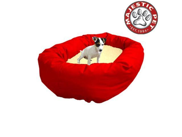 "Majestic Pet Large 40"" Donut Dog Bed (40""x31""x12""), Red / Sherpa - OEM"