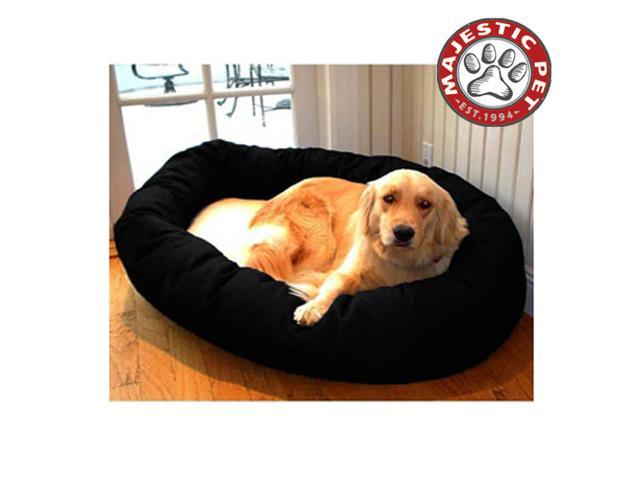 "Majestic Pet Large 40"" Donut Dog Bed (40""x31""x12""), Black / Sherpa - OEM"