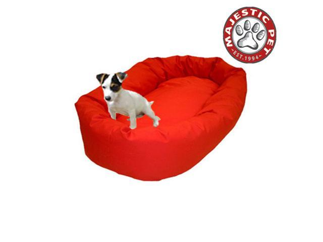 "Majestic Pet Medium 32"" Bagel Dog Bed (32""x28""x10""), Red - OEM"