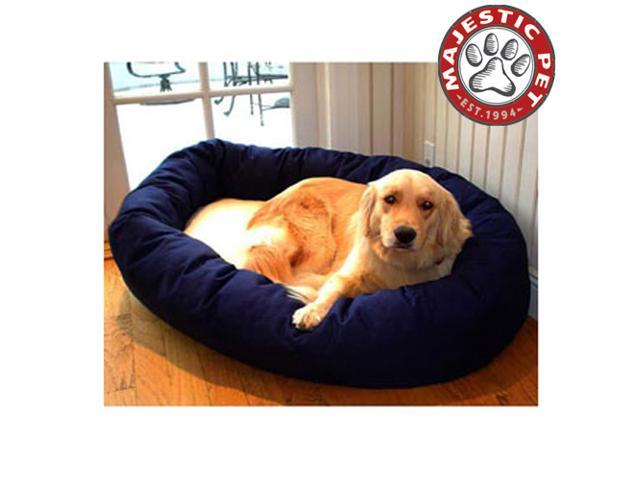 "Majestic Pet Large 40"" Donut Dog Bed (40""x31""x12""), Blue / Sherpa - OEM"