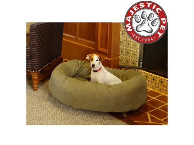 "Majestic Pet Extra Large 52"" Micro Suede Dog Bagel Bed (52""x36""x14""), Sage"