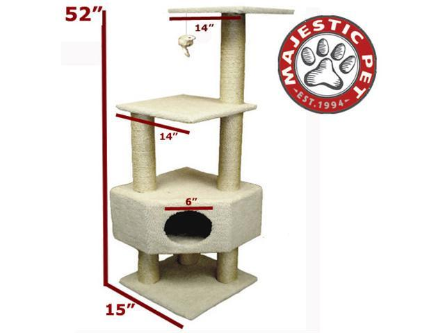 "Majestic Pet 52"" BUNGALOW Cat Tree - Cream White Sherpa - OEM"
