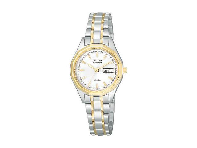 Citizen Eco-Drive Sport White Dial Two-tone Ladies Watch EW3144-51A