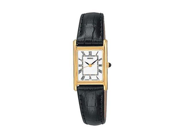 Seiko Gold-tone Black Leather Strap Ladies Watch SXGN42