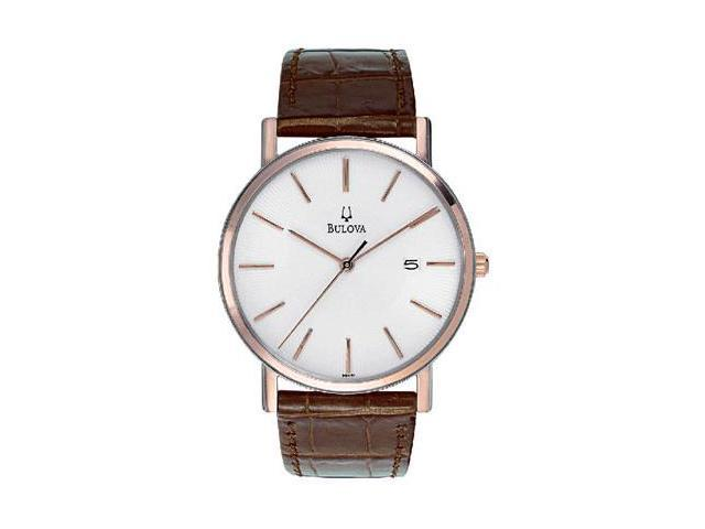 Bulova Dress Series White Dial Rose Gold-tone Case Mens Watch 98H51