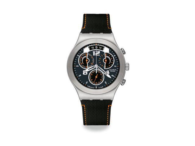 Swatch Fine Steel Black Rubber Mens Watch YCS514