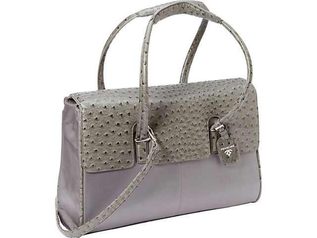 Women In Business Francine Collection -  15.6in. Gray Ostrich London Laptop Case